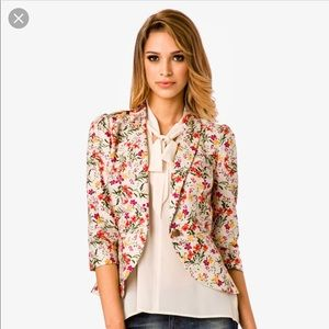 Forever 21 floral peplum blazer